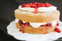 Creamy White Strawberry Shortcake ready to serve