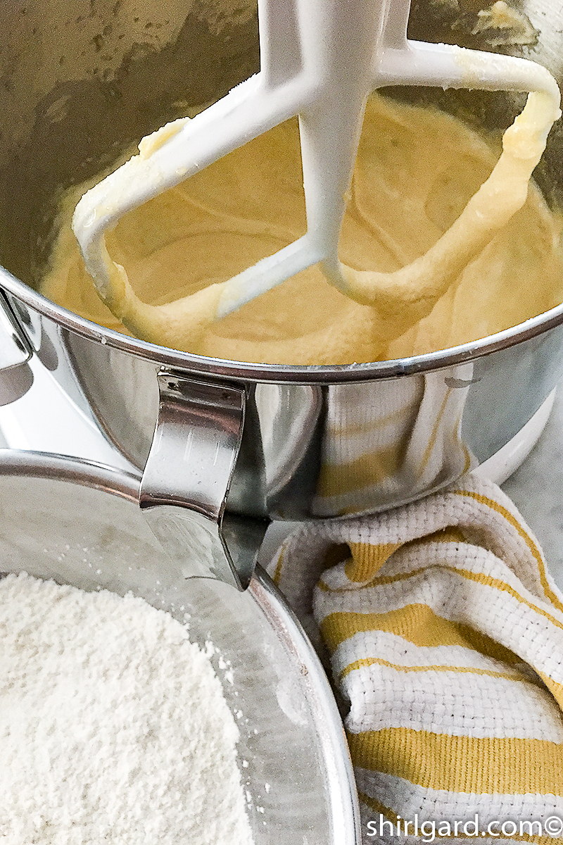 Mixing the cake with a mixer instead of a food processor.